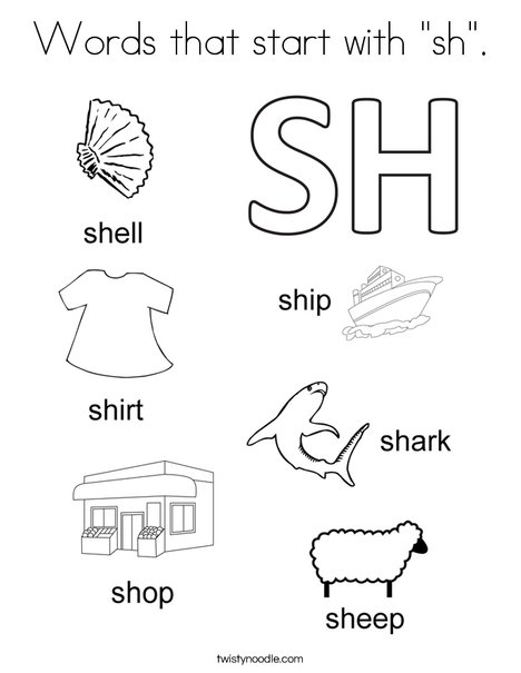 "coloring pages starting with q | Words that start with ""sh"" Coloring Page - Twisty Noodle"