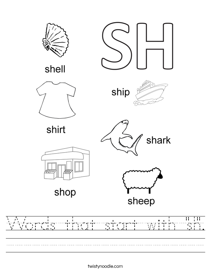 "Words that start with ""sh"". Worksheet"