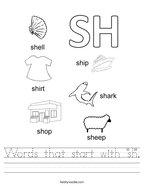"Words that start with ""sh"" Handwriting Sheet"