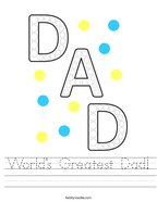 World's Greatest Dad Handwriting Sheet