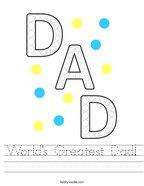 World's Greatest Dad Handwriting Sheet