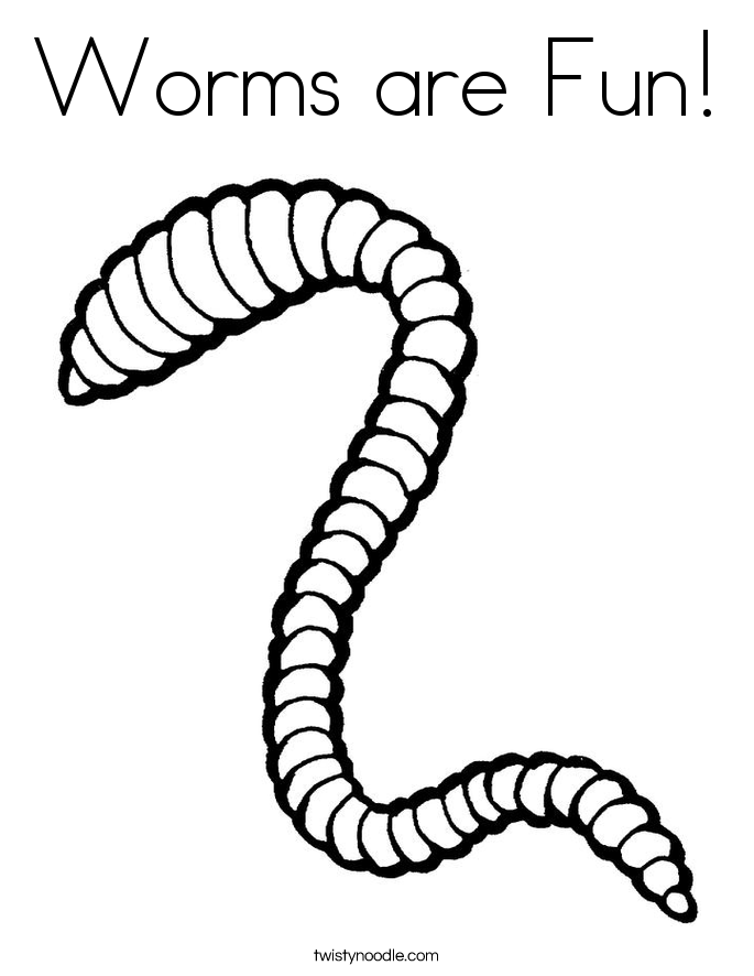 Worms are Fun! Coloring Page