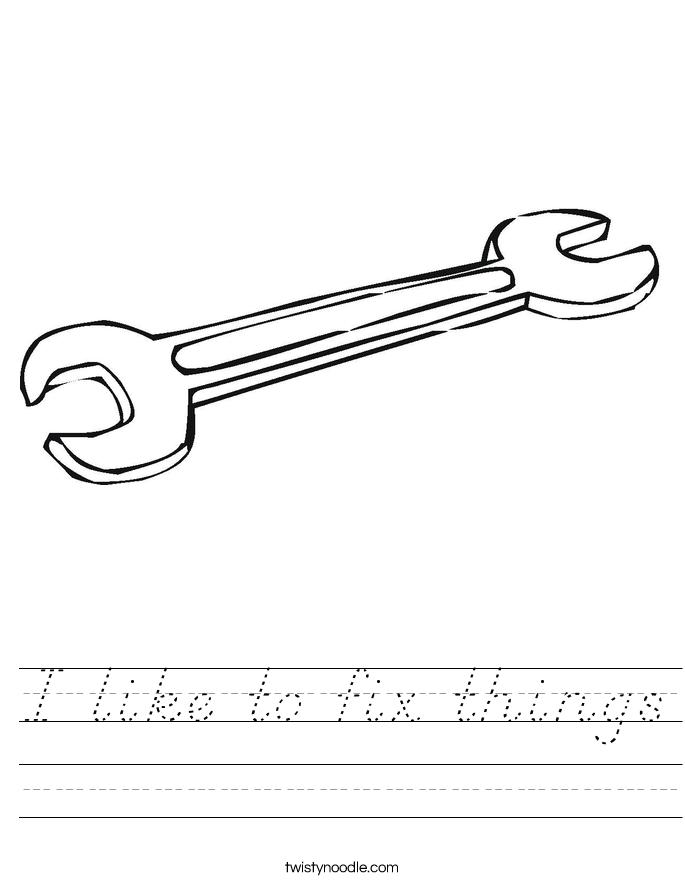I like to fix things Worksheet