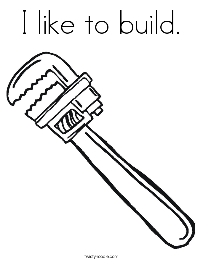 I like to build. Coloring Page