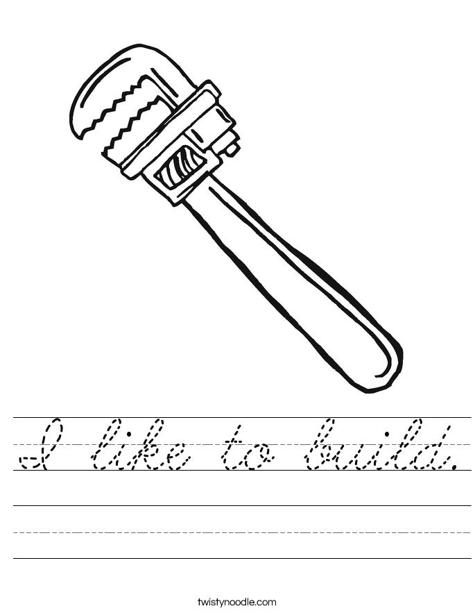 I like to build. Worksheet