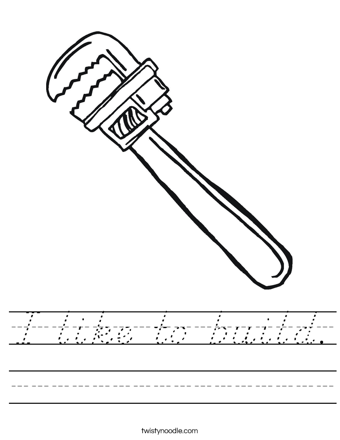 I like to build. Worksheet