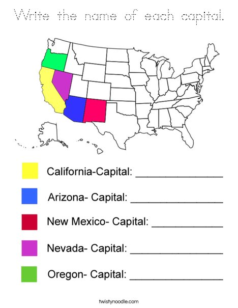 Write the Capital Names- West Coloring Page