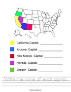 Write the name of each capital Handwriting Sheet