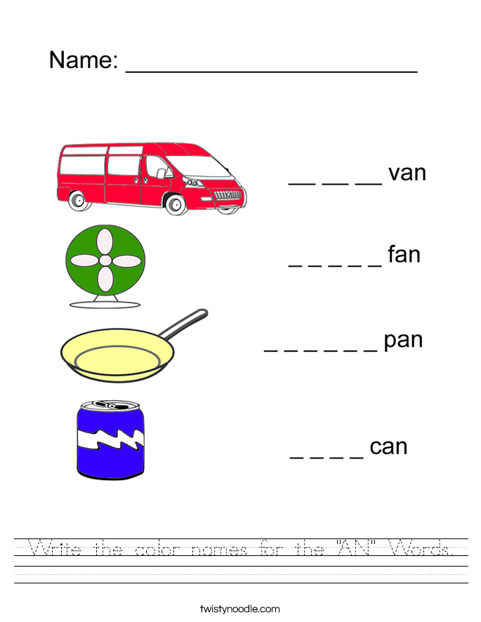 "Write the color names for the ""AN"" Words. Worksheet"