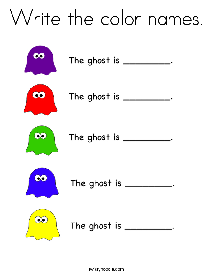 Write the color names. Coloring Page