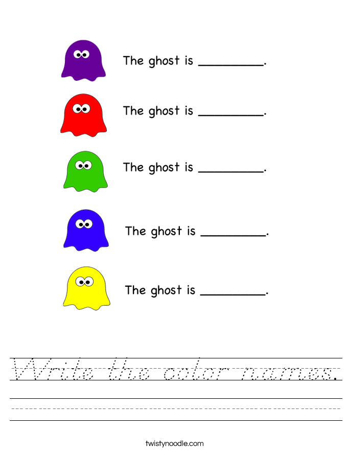 Write the color names. Worksheet