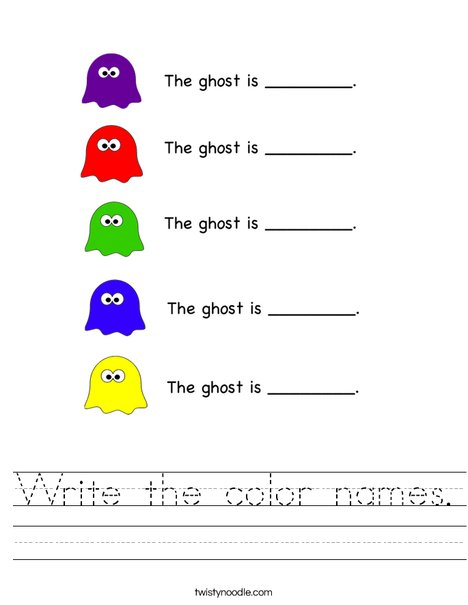 Write the color names Worksheet - Twisty Noodle