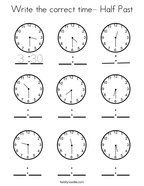 Write the correct time- Half Past Coloring Page