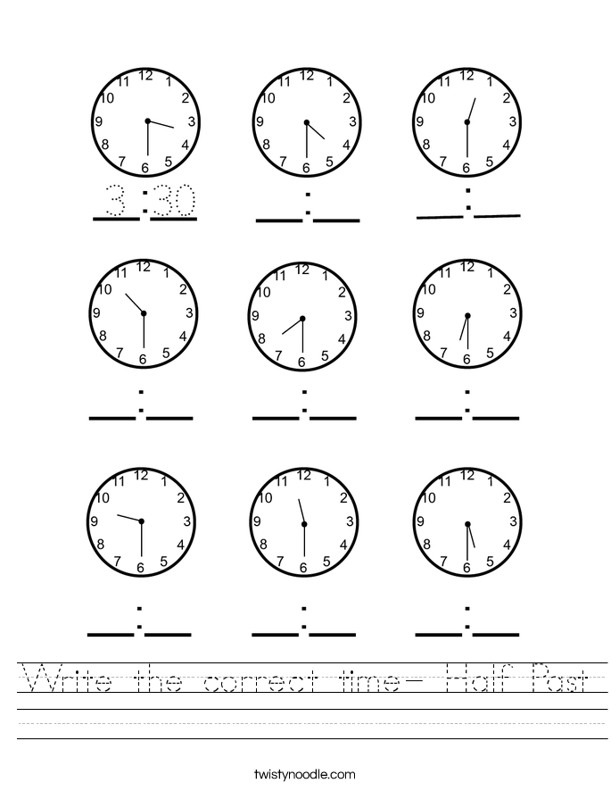 Write the correct time- Half Past Worksheet
