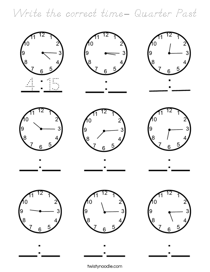 Write the correct time- Quarter Past Coloring Page