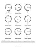 Write the correct time- Quarter Past Worksheet