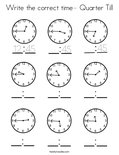 Write the correct time- Quarter Till Coloring Page