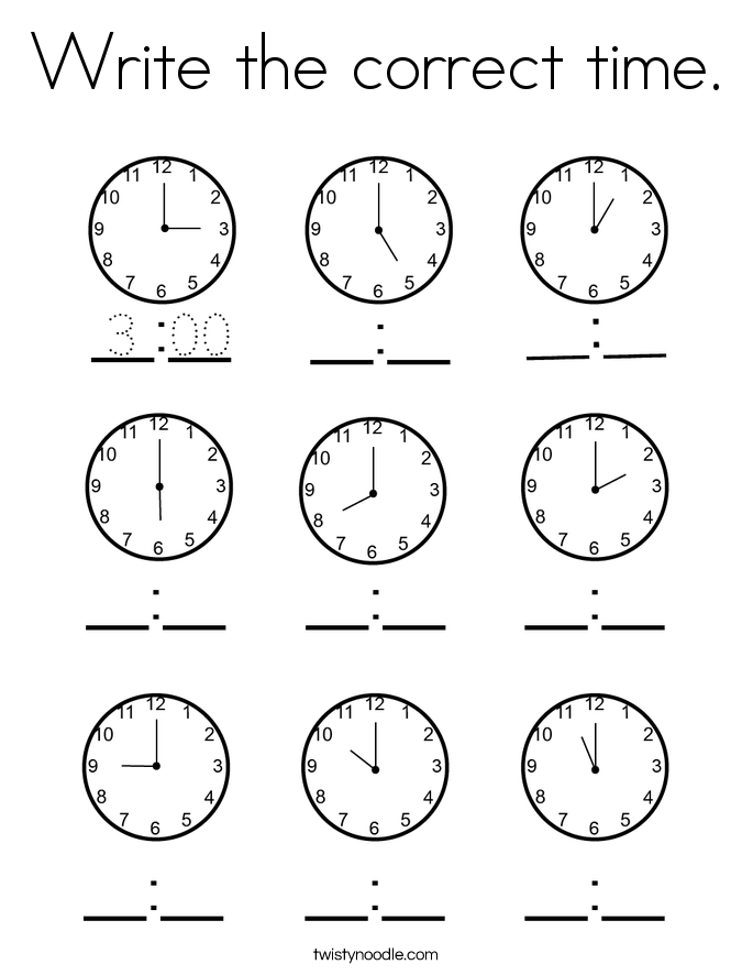 Write the correct time. Coloring Page