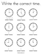 Write the correct time Coloring Page