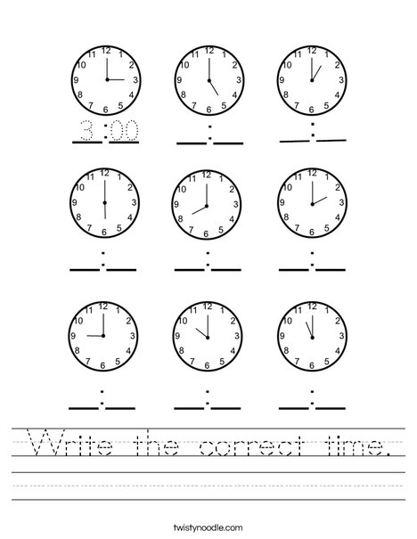 Write the correct time. Worksheet