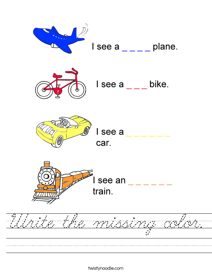 Write the missing color. Worksheet