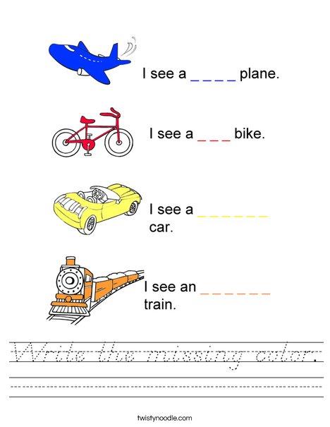 Write the missing color Worksheet