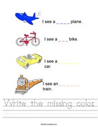 Write the missing color Handwriting Sheet