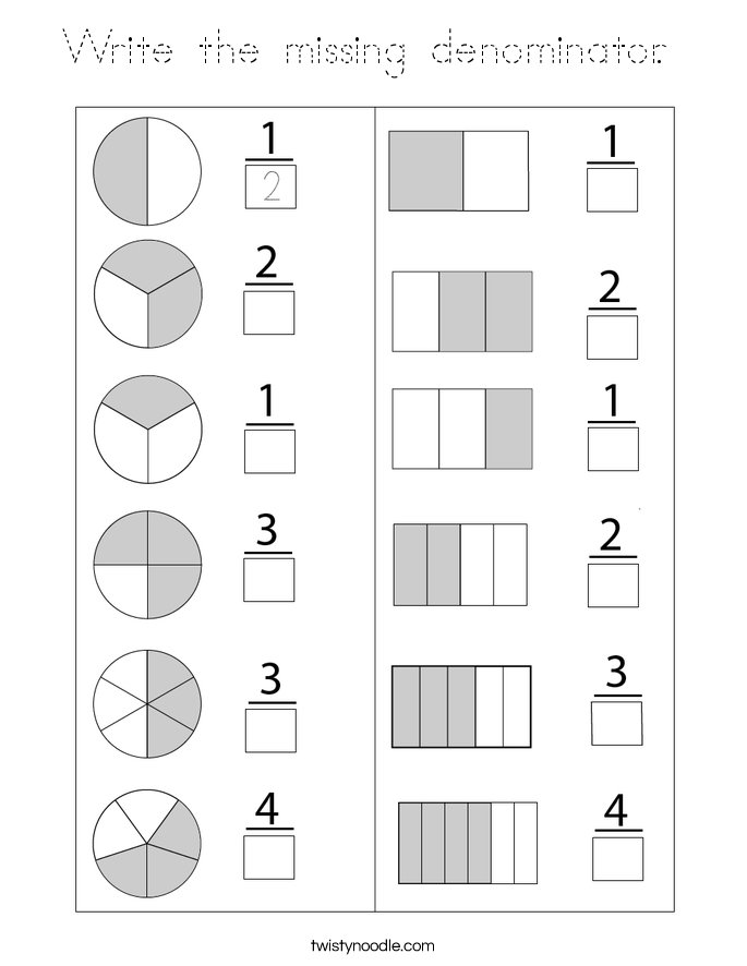 Write the missing denominator.  Coloring Page