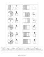 Write the missing denominator  Handwriting Sheet