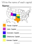 Write the name of each capital. Coloring Page