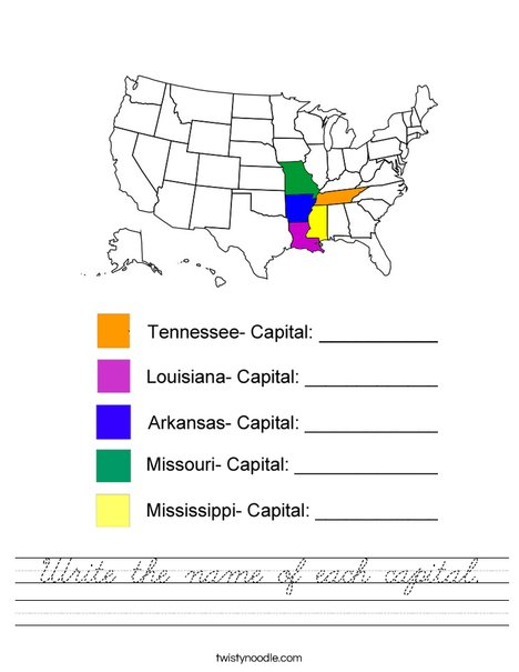 Write the name of each capital- Mississippi Worksheet