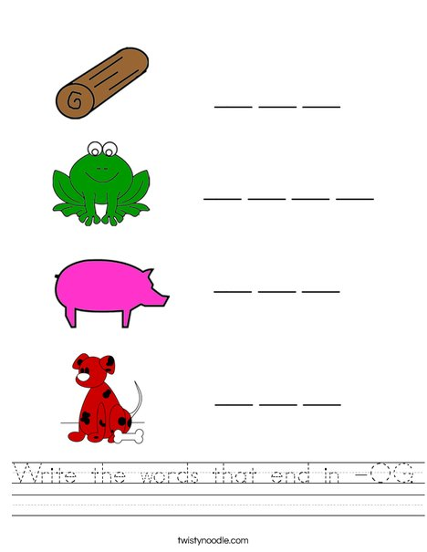 Write the -OG words Worksheet