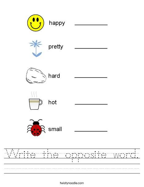 Write the opposite word. Worksheet