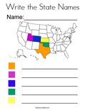 Write the State Names Coloring Page