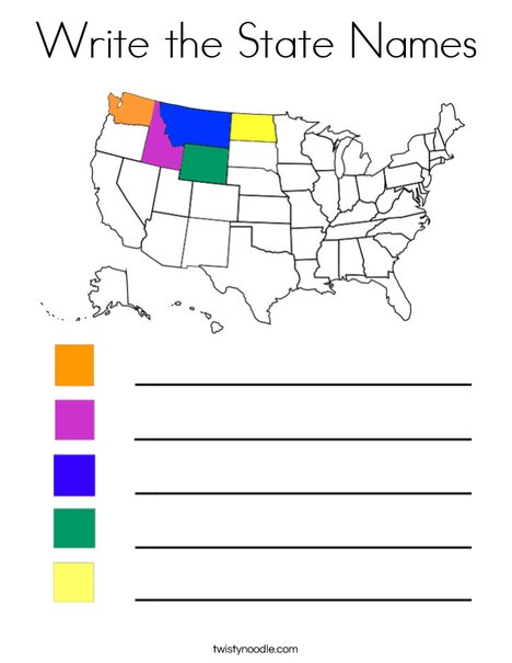 Write the State Names-NW Coloring Page