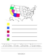 Write the State Names Handwriting Sheet
