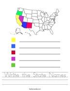 Write the State Names Handwriting Sheet
