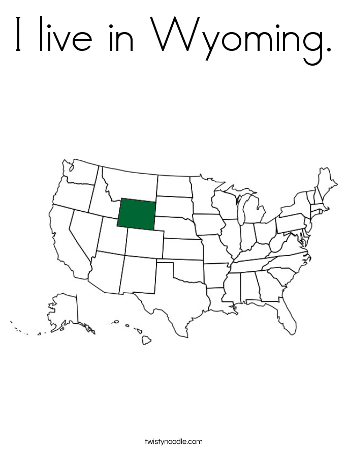 I live in Wyoming. Coloring Page