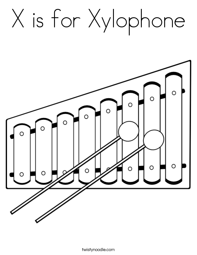 X is for Xylophone Coloring Xylophone Outline