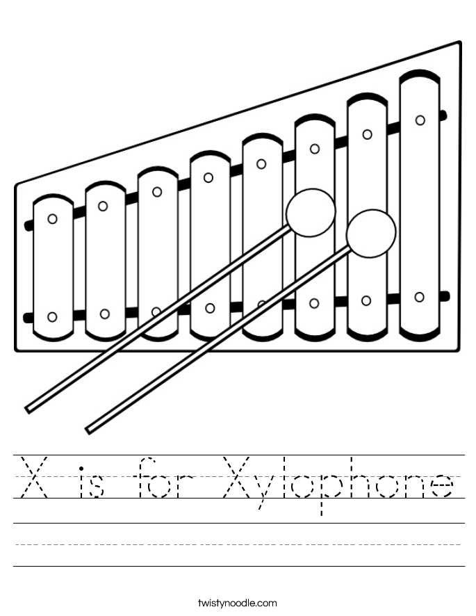 X is for Xylophone Worksheet  Xylophone Outline