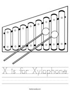 X is for Xylophone Handwriting Sheet
