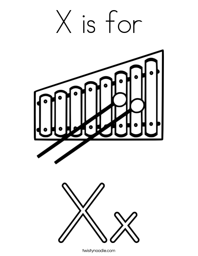 X For Xylophone Coloring PageForPrintable Coloring Pages Free