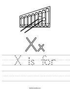 X is for Handwriting Sheet