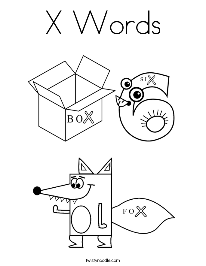 X Words Coloring Page Twisty Noodle X Colouring Pages