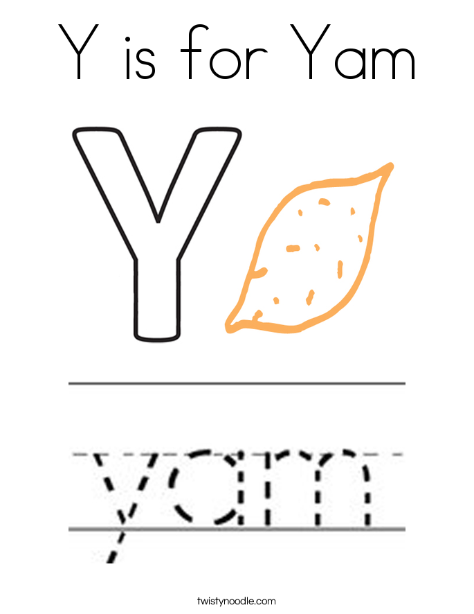 Y is for Yam Coloring Page