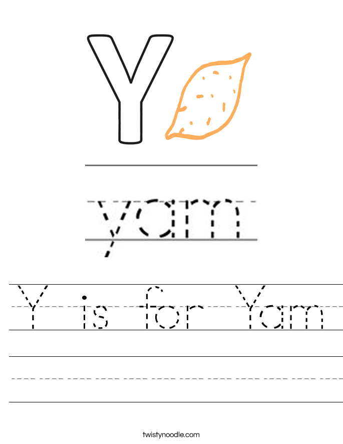 Y is for Yam Worksheet