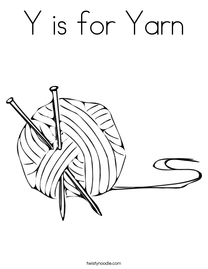 Y is for Yarn Coloring Page Twisty Noodle
