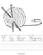 Y is for Yarn Handwriting Sheet