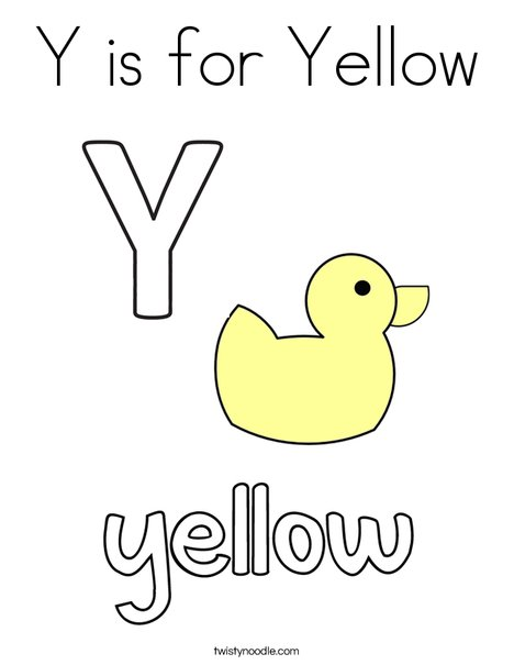 Y is for Yellow Coloring Page