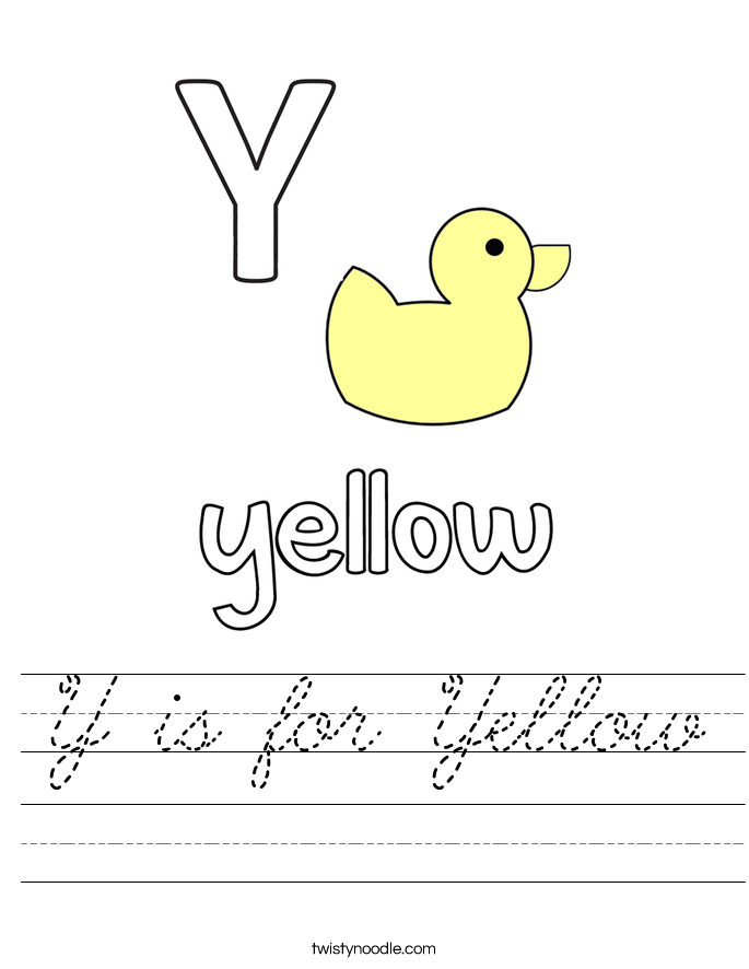 Y is for Yellow Worksheet